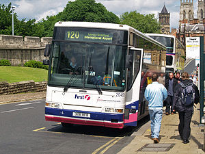 First York - York Aircoach branded Plaxton Expressliner bodied Volvo B10M-62 on route 120 York Aircoach in June 2008