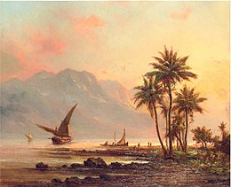 Fisherman and their craft on the Rio Guarico (c.1850) Fritz Melbye.jpg