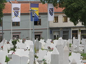 Flag of Bosnia and Herzegovina - Image: Flag cemetery Mostar
