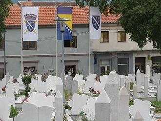 Army of the Republic of Bosnia and Herzegovina - A cemetery in Mostar flying the flag of Army of the Republic of Bosnia and Herzegovina (left), the flag of Bosnia and Herzegovina, and the flag of the Republic of Bosnia and Herzegovina