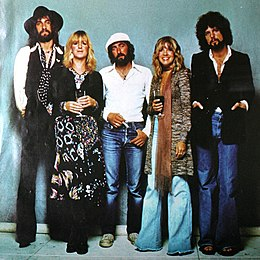 Fleetwood Mac in 1977. From left to right: Mick Fleetwood, Christine McVie, John McVie, Stevie Nicks, and Lindsey Buckingham.