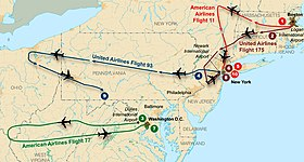 Flight paths of hijacked planes-September 11 attacks.jpg
