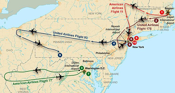 Flight paths of the four planes used on September 11 Flight paths of hijacked planes-September 11 attacks.jpg