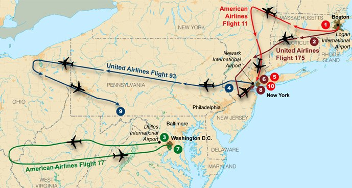 Flight paths of hijacked planes-September 11 attacks