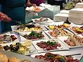 Food at a buffet in the Pan-European University, Bratislava, Slovakia - 20140723-01.jpg