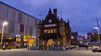 St Enoch subway station - The former station building, now converted into a café, with the St Enoch Centre in the background.