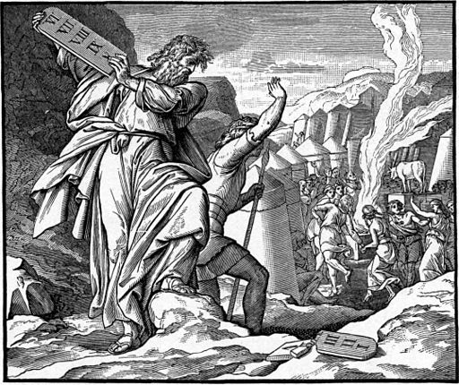 Foster Bible Pictures 0069-1 Moses Throws the Tablet of Stone