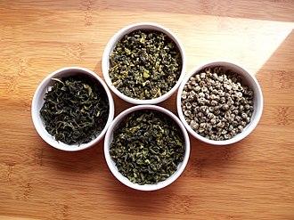 Green tea - Four varieties of green tea prior to brewing