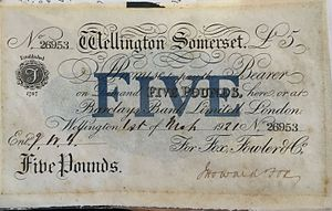 Wellington, Somerset - Fox, Fowler Bank of Wellington £5 Note