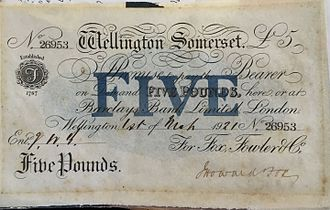 Bank of England note issues - £5 note issued by the Fox, Fowler and Company bank in Wellington, Somerset