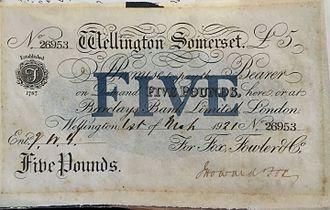 Wellington, Somerset - Fox, Fowler Bank of Wellington £5 Note
