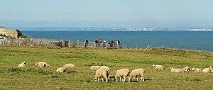Blick vom Cap Gris-Nez über den Kanal auf die Kreidefelsen von Dover