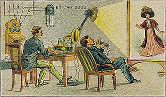 Videotelephony - Video telephony predicted to be in use by the year 2000, as envisioned in 1910. (artist's conception)