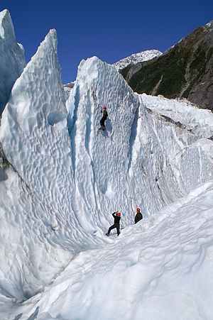 Ice climbers practicing at Franz Josef glacier...