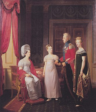 Marie of Hesse-Kassel - Frederik VI and Queen Marie with Princesses Caroline and Vilhelmine. Painted by C.W. Eckersberg, 1821.