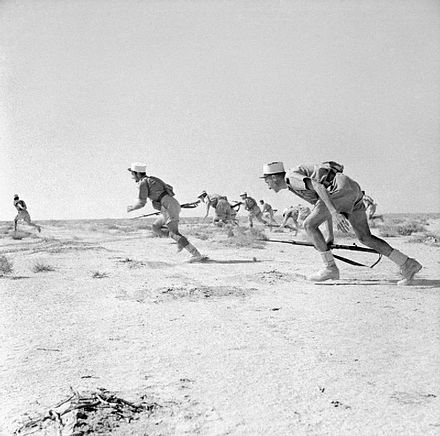 Free French Foreign Legionnaires assaulting an Axis strong point at the battle of Bir Hakeim, 1942. Free French Foreign Legionnairs.jpg