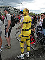 Fremont Solstice Parade 2007 - Gasworks naked bee cyclist.jpg