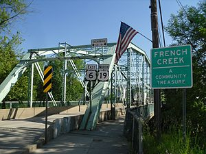 U.S. Route 6 in Pennsylvania - US 6 eastbound/US 19 northbound crossing the French Creek in Cambridge Springs