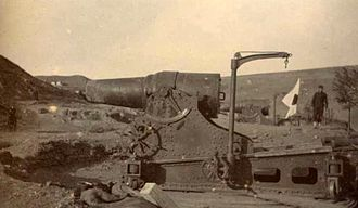 28 cm howitzer L/10 - A 28 cm howitzer during the siege of Port Arthur.