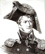 Black and white print of a frowning man with long sideburns. He wears a dark military uniform and an enormous bicorne hat.