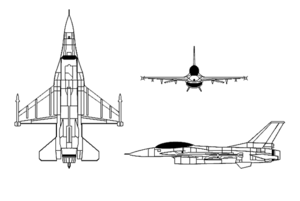 Orthographically projected diagram of the F-16.