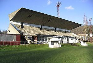 Netherdale - The main stand of Netherdale football stadium is a Category A listed building