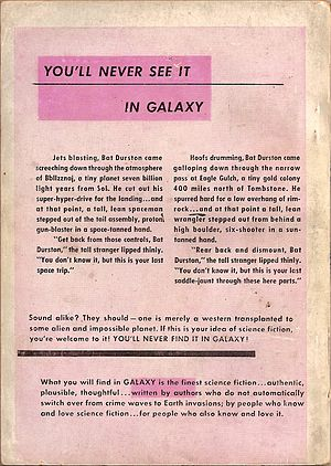 Galaxy Science Fiction - Rear cover of first issue