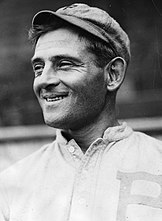Photograph of Phillies right fielder/manager Gavvy Cravath taken from his left side