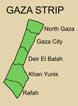 Governance of the Gaza Strip - Map showing Gaza governorates