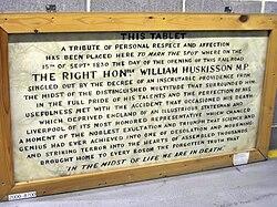 Photo of William Huskisson white plaque