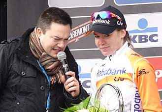 Anna van der Breggen - On the podium in Ghent after winning 2015 Omloop Het Nieuwsblad