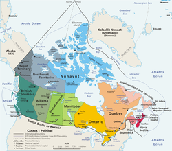 Mapa político de Canadá, con 10 provincias y 3 territorios.