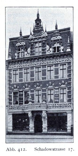 """Bruno Schmitz - Image: Geschäftshaus Schadowstraße 17 in Düsseldorf der Firma J. H. Wildemann, Umbau von den Architekten """"van Els & Schmitz"""" im Jahre 1883"""