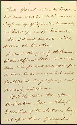 Gettysburg Address - Letter of David Wills inviting Abraham Lincoln to make a few remarks, noting that Edward Everett would deliver the oration
