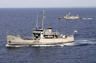 Ghana Navy - The patrol ship GNS Anzone (P30) with GNS Achimota (P28) in the Gulf of Guinea in October 2005.