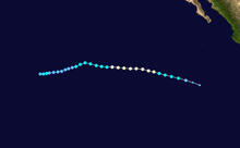 A map depicting the track of a short-lived hurricane in early August.