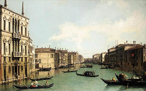 Giovanni Antonio Canal, il Canaletto - Venice - The Grand Canal, Looking North-East from Palazzo Balbi to the Rialto Bridge - WGA03851