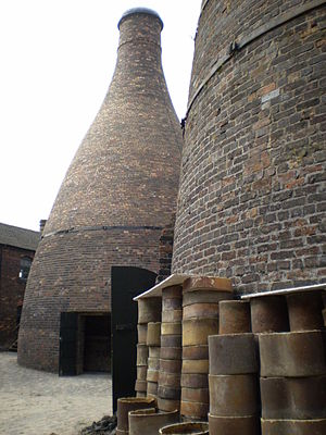 Staffordshire Potteries - Saggars outside a bottle oven in a pot-bank in Longton