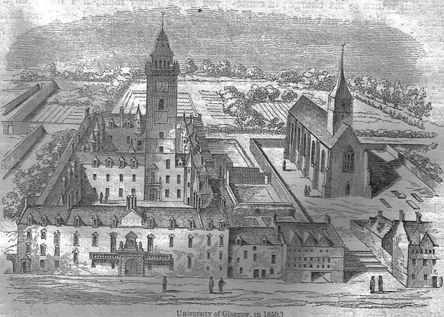 "Glasgow University in a 17th century engraving. (Wikimedia Commons)  Glascow was an important site in the ""Scottish Enlightenment,"" to which Smith's thought belonged."