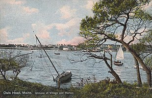 Glimpse of village and harbor in 1910