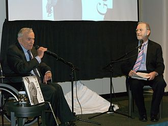 Leonard Lopate - Gore Vidal with Lopate recording his show in 2009.