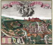 Gotha 1738 mit (Bildmitte) Siebleber Tor links (No. 25) und Sundhäuser Tor rechts (No. 28) (Quelle: Wikimedia)
