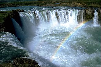 Christianization of Iceland - The Goðafoss waterfall, named after the pagan idols thrown into it after the adoption of Christianity