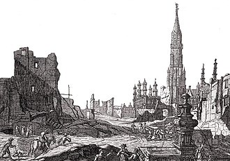 Brussels - The Grand Place after the 1695 bombardment by the French army