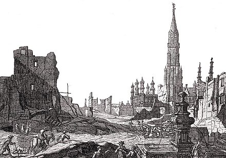The Grand Place after the 1695 bombardment by the French army Grand- Place BXL1695 -01.jpg
