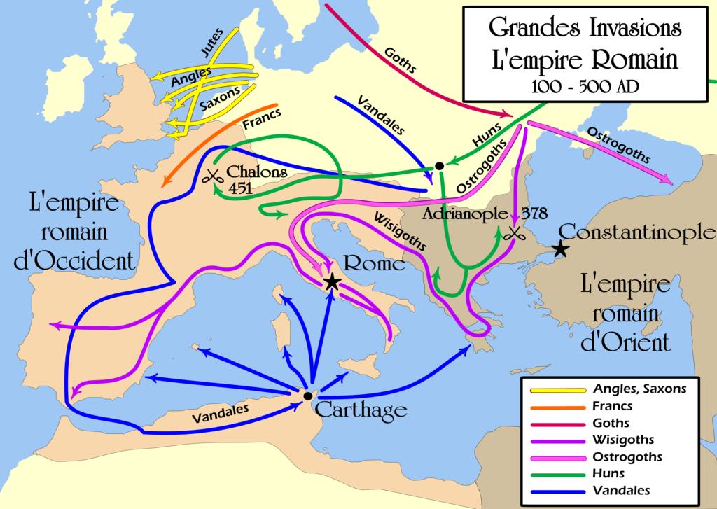 HISTOIRE ABRÉGÉE DE L'ÉGLISE - PAR M. LHOMOND – France - année 1818 (avec images et cartes) 1024px-Grandes_Invasions_Empire_romain