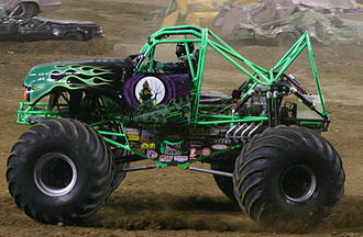 Monster truck - This image of Grave Digger, minus much of its body work, reveals how far removed monster truck designs are from the traditional trucks they somewhat resemble.