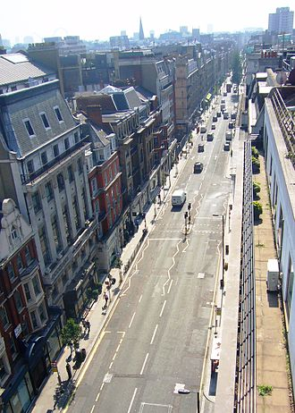 Great Portland Street - A view south down Great Portland Street from the Marylebone Road