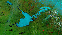 Great Slave Lake - False-color photo of Great Slave Lake