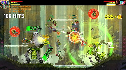 Guacamelee is a brawler-based platform game that features cooperative play, allowing the two luchador characters to coordinate their actions for more effective combat Guacamelee! screenshot M.jpg